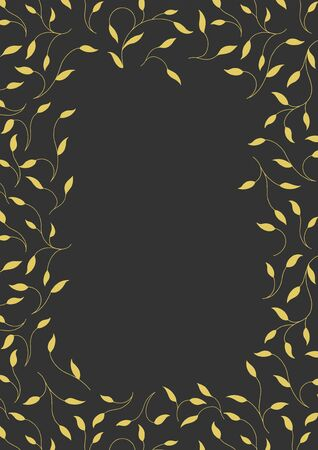 Rectangular frame on a black background. Golden branches. For the text. Art Deco style. Vector illustration.