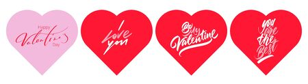 Set of inscription love on hearts on a white background. Vector illustration.