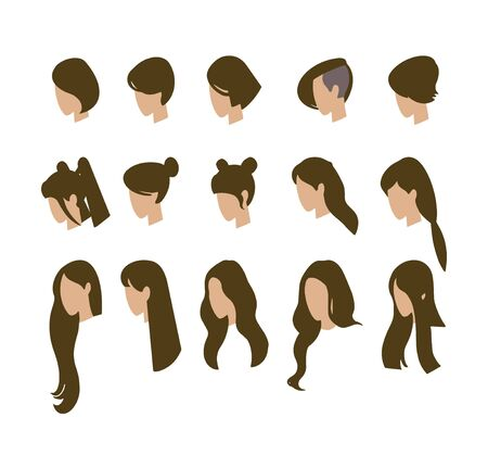 Set of avatars. Young girls. Vector illustration.