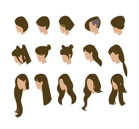 Set of avatars. Young girls. Vector illustration. Illusztráció