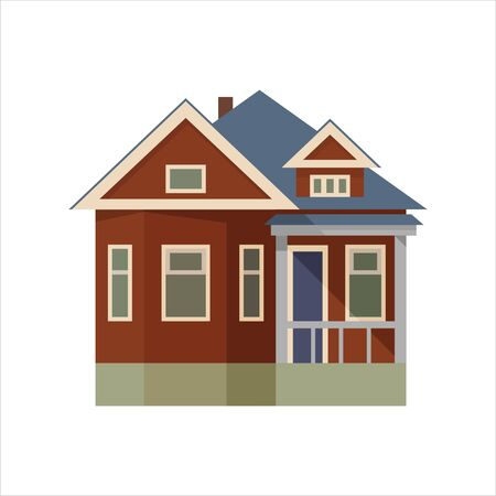 Brick house. In the style of flat. Vector illustration. Ilustração