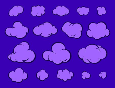 Set of cartoon clouds in the night sky. Vector illustration