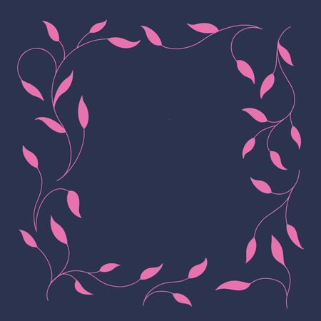 Frame of twigs in a square. Pink branches on a dark background. Vector illustration. Ilustração