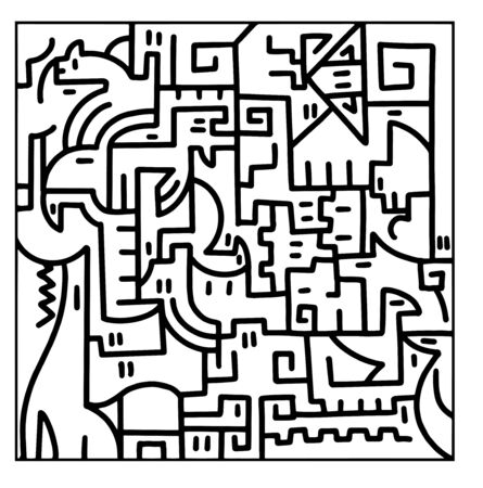 Animal puzzle Doodle drawing. Children's style. Vector illustration.  イラスト・ベクター素材