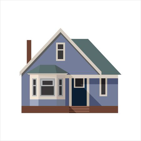 Blue house. In the style of flat. Vector illustration.