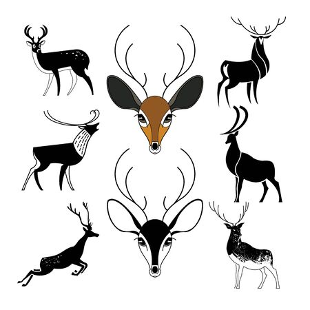 Set of deer signs for logos in different styles. Black silhouettes.