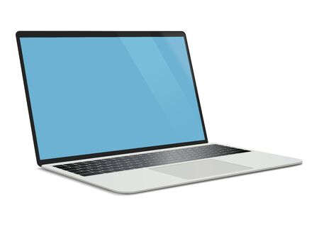 Realistic laptop. Isolated on white. Digital vector illustration.
