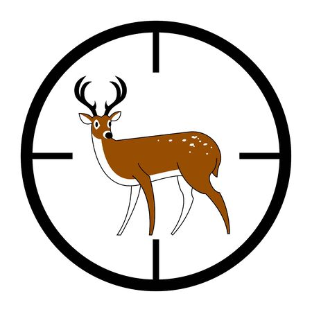 Sign of a deer in sight. Isolated on a white background. Vector illustration. Banco de Imagens - 148164388