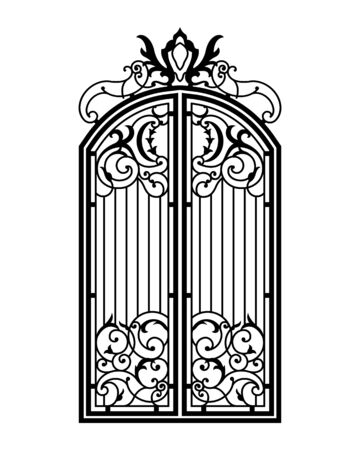 Closed Forged Ornate Gate. Black silhouette. Vector illustration.