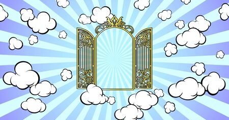 Gateway to Paradise. Shining in the sky. Cartoon style. Vector illustration. Banco de Imagens - 148164394