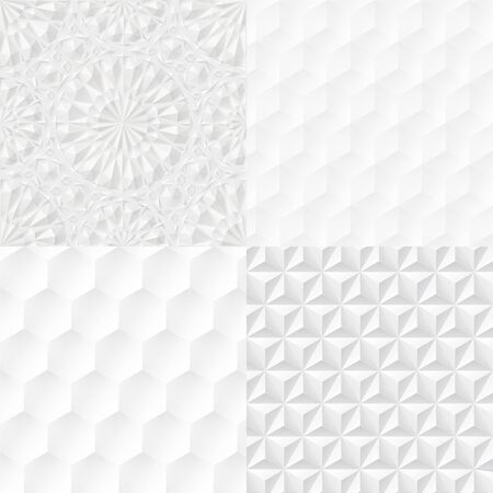Set of white geometric seamless extruded patterns. Vector illustration