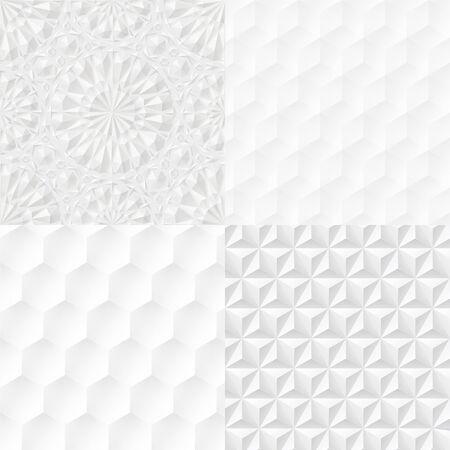 Set of white geometric seamless extruded patterns. Vector illustration Banco de Imagens - 148164396