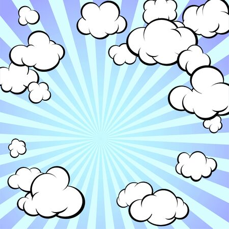 Frame of painted clouds. Radial rays of the sun. Retro style. Cartoon. Square format. Vector illustration. Banco de Imagens - 147988602