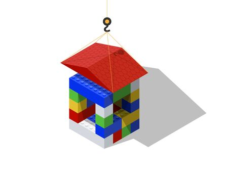 Building a house from a children's designer. Vector illustration.