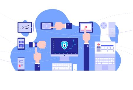Use of gadgets. Internet security. Bright background. Flat style. Vector illustration.