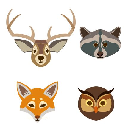 Set of muzzles of forest animals. In cartoon style. Vector color illustration.