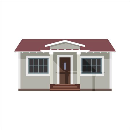 One-storey cottage in the style of flat. Vector illustration.