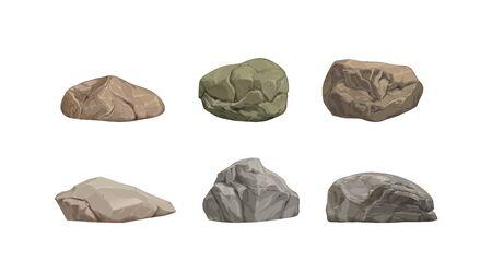 Set of different big cartoon stones. Vector illustration Stock Illustratie