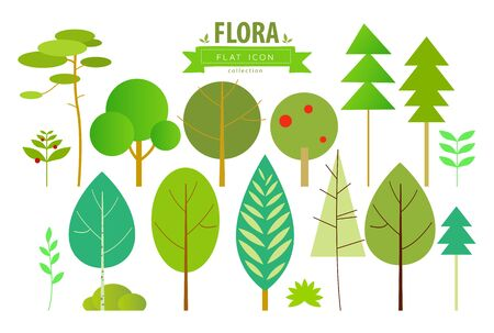 Set of trees. Flat icons. Vector illustration