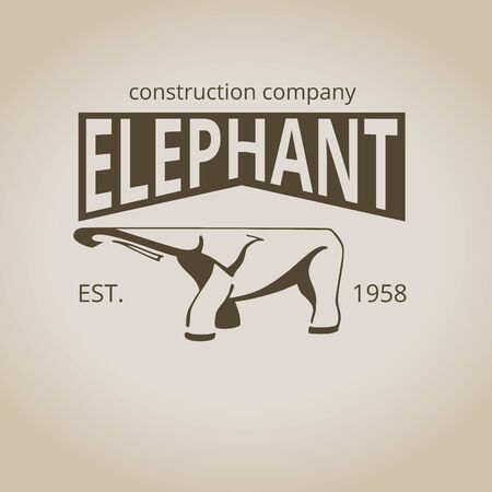 Elephant emblem for logo. Vintage style. Vector illustration Çizim