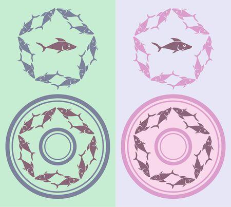 Sign silhouette of fish in a circle. Vector illustration Ilustração