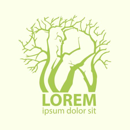 stock vector illustration green elephant and trees logo icon