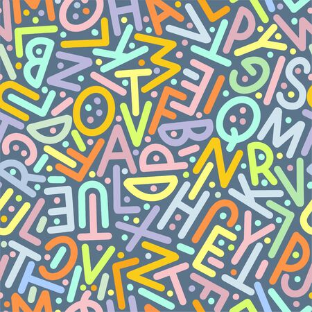 Multicolor pattern of letters of the English alphabet. Vector illustration. Banco de Imagens - 147988611