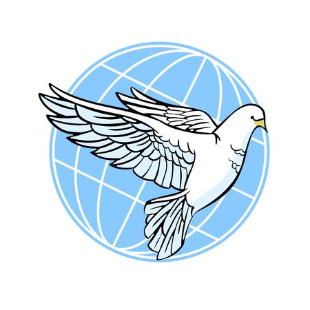 Dove of peace. White dove on the background of the earth. Vector illustration.