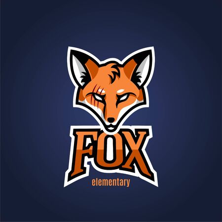 Logo mascot is a fox for sports. Vector illustration.