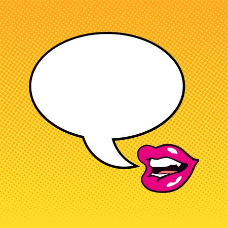 Talking female lips with a dialog cloud in pop art style. Vector illustration.