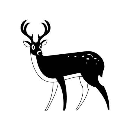 Black-white sketch of fallow deer. Logo, emblem, sign, symbol Vector illustration