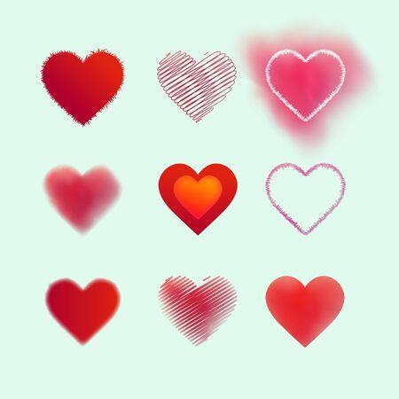 stock vector illustration hearts set sign decoration scarlet pink