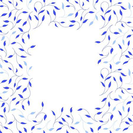 Square frame of blue branches. White background. Vector illustration.