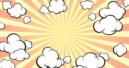 Background with empty space for text or object. Pop art style. Comic style. The sky with clouds. Horisontal format. Vector illustration. Banco de Imagens - 148164403