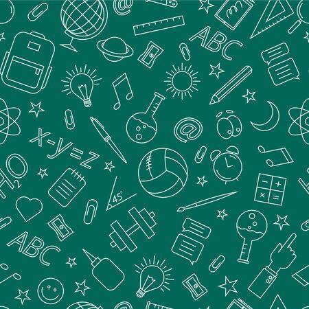 School doodle pattern. Vector illustration on a green background. Ilustração