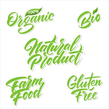 Handwritten lettering for green products labels. Vector illustration. Banco de Imagens - 148164420