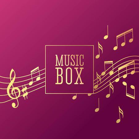 Wave music note mill. Vector background illustration Ilustração
