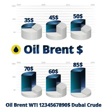 stock vector illustration Brent crude oil prices infographics WTI Dubai crude