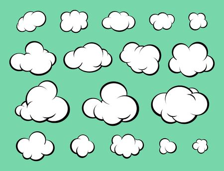 Set of diverse cartoon clouds. Comic style. Vector Illustration Banco de Imagens - 148181480