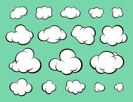 Set of diverse cartoon clouds. Comic style. Vector Illustration Illustration