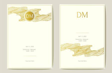Gold foil wedding invitation. abstaract wave. Vector illustration.