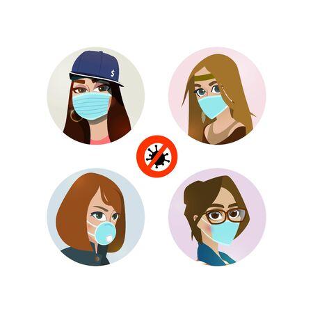Set of girls in protective masks. Prevention of a virus disease. Ilustração