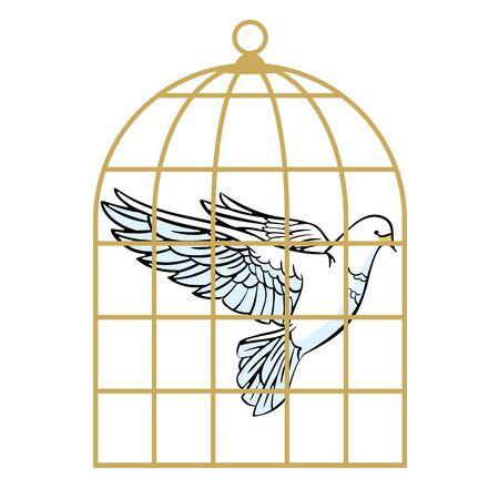 White dove in a cage. Symbol of lack of freedom. Vector illustration. Banco de Imagens - 148452403
