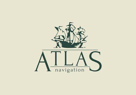 Atlas design . Vintage style Ship sign Vector illustration Banco de Imagens - 148715137