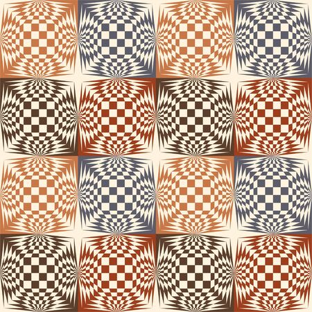 Vintage color chess pattern Escher. Vector illustration