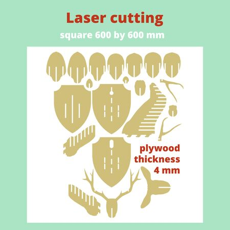 Layout for laser cutting. The head of a deer. Vector illustration