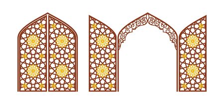 Arched carved gate with arabic ornament. Layout for clipping. Vector illustration. Banco de Imagens - 148715204