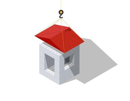 Roofing illustration with the help of a children's designer. Vector illustration