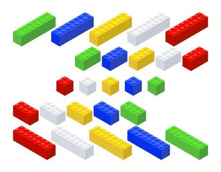 Construction kit. Block set. Isometric style Vector illustration