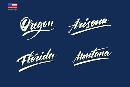 Set of the names of the states of America written with a brush. Vector illustration
